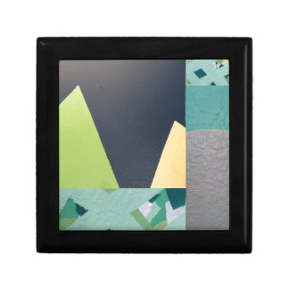 Geometric mural collage small square gift box