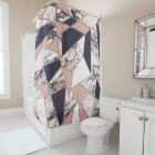 Geometric Navy Blue Peach Marble and Rose Gold Shower Curtain