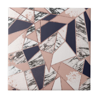 Geometric Navy Blue Peach Marble and Rose Gold Small Square Tile