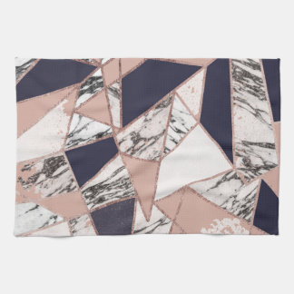 Geometric Navy Blue Peach Marble and Rose Gold Tea Towel