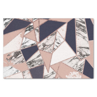 Geometric Navy Blue Peach Marble and Rose Gold Tissue Paper