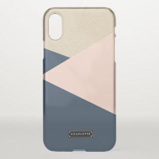 Geometric Navy & Blush Pink Personalised iPhone X Case