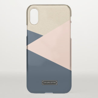 Geometric Navy & Blush Pink Personalized iPhone X Case