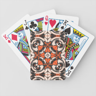 Geometric Orange And Black Abstract Bicycle Playing Cards