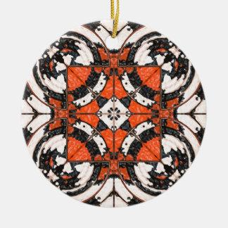Geometric Orange And Black Abstract Ceramic Ornament