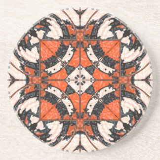 Geometric Orange And Black Abstract Coaster