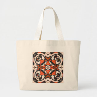 Geometric Orange And Black Abstract Large Tote Bag