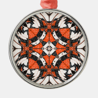Geometric Orange And Black Abstract Metal Ornament
