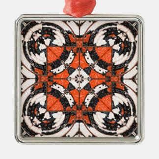 Geometric Orange And Black Abstract Metal Ornament