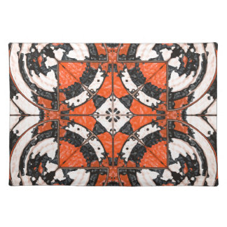 Geometric Orange And Black Abstract Placemat
