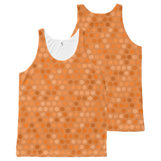 Geometric Orange Polka Dot Design All-Over Print Singlet