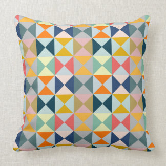 Geometric Patchwork Triangles Cushion