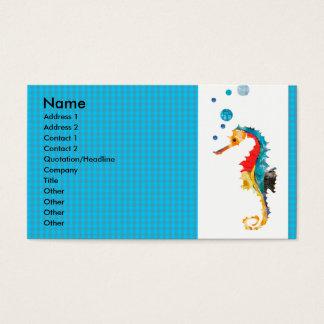 Geometric Pattern  Animal Watercolor  Sea Horse Business Card