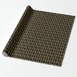 Geometric Pattern Black and Gold Squares Elegant Wrapping Paper