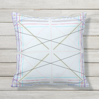 Geometric pattern blue outdoor cushion