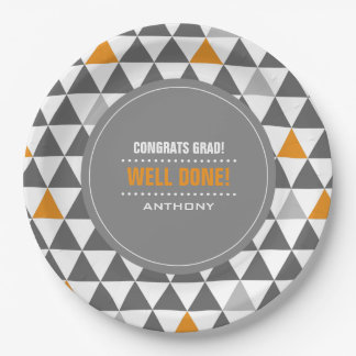 Geometric Pattern Graduation Party Paper Plates