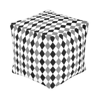 Geometric pattern, gray and black rhombus theme pouf