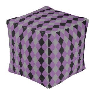 Geometric pattern gray purple violet black rhombus pouf