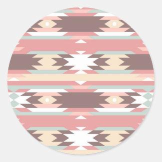 Geometric pattern in aztec style 2 round sticker