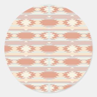 Geometric pattern in aztec style 3 round sticker