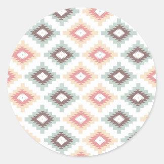Geometric pattern in aztec style round sticker