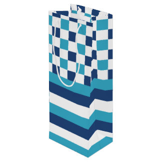 Geometric pattern in blue wine gift bag