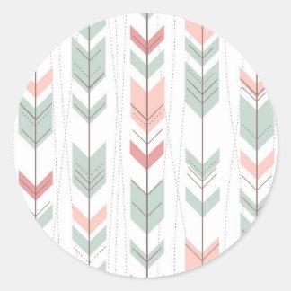 Geometric pattern in retro style round sticker