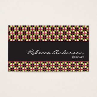 Geometric pattern maroon, olive, & black business card