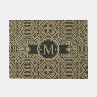 Geometric Pattern Monogram Black and Gold ID143 Doormat