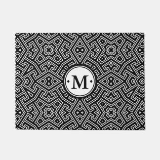 Geometric Pattern Monogram Black and White ID149 Doormat