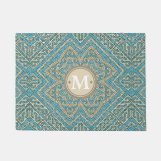 Geometric Pattern Monogram Turquoise Gold ID161 Doormat