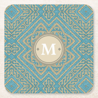 Geometric Pattern Monogram Turquoise Gold ID161 Square Paper Coaster