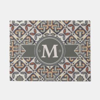 Geometric Pattern Monogram Warm Grey ID162 Doormat