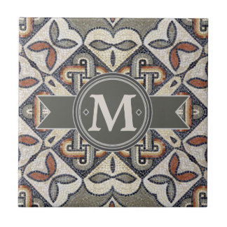 Geometric Pattern Monogram Warm Grey ID162 Small Square Tile