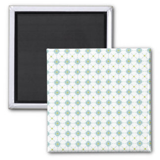Geometric pattern pattern blue & green magnet
