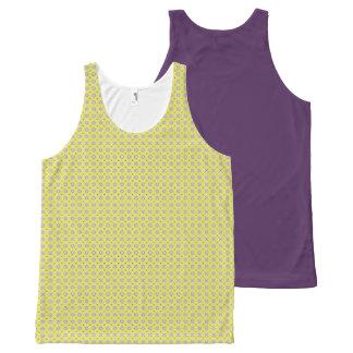 Geometric pattern pattern purple × yellow All-Over Print Singlet