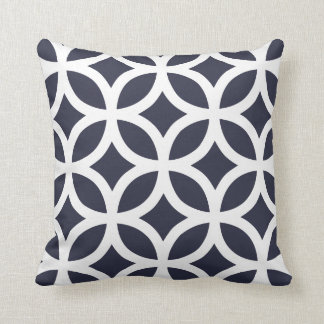 Geometric Pattern Pillows in Navy Blue Throw Cushions