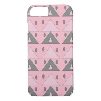 Geometric Pattern Soft Pink Gray Funny Elegant iPhone 7 Case