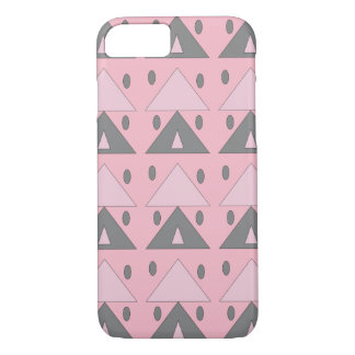 Geometric Pattern Soft Pink Gray Funny Elegant iPhone 8/7 Case