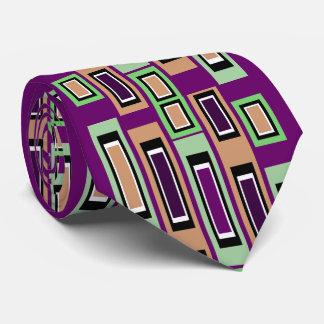 Geometric Pattern Tie 4 Men-Purple/Green/Peach/Wht