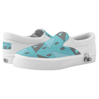 Geometric Pattern Triangles Ovals Blue Gray Funny Slip-On Shoes