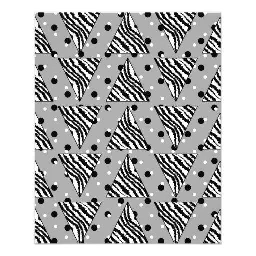 Geometric Pattern with Zebra Stripes and Dots. Flyer