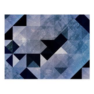 Geometric Patterns | Blue Triangles and Diamonds Postcard