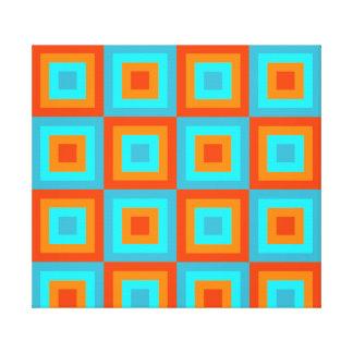 Geometric Patterns Color Turquoise Orange Canvas Print