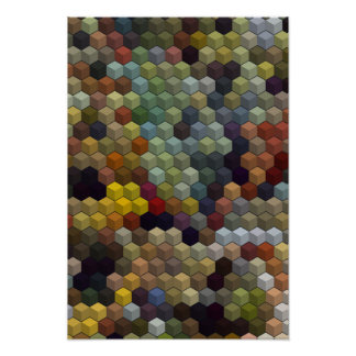 Geometric Patterns   Multicolored cubes and square Poster