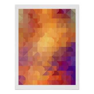 Geometric Patterns | Orange Squares and Triangles Poster