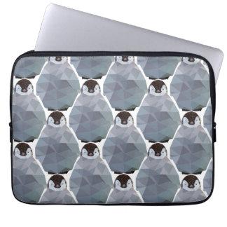 Geometric Penguin Huddle Print Laptop Sleeve
