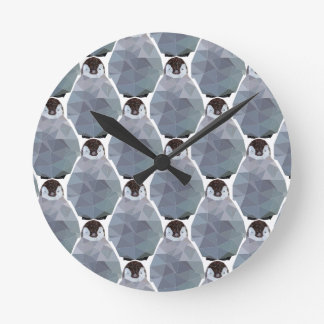 Geometric Penguin Huddle Print Round Clock