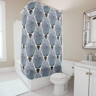 Geometric Penguin Huddle Print Shower Curtain