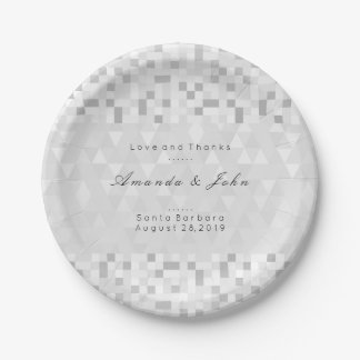 Geometric Personalised Gray Silver White Wedding Paper Plate